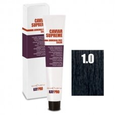 """1.0 """"KAYPRO Caviar Supreme"""" kreminiai dažai be amoniako, juoda spalva, 100ml."""