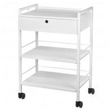 Kosmetologinis staliukas-vežimėlis, baltos sp.