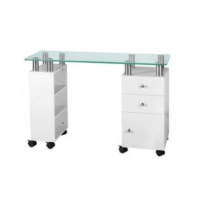 Manikiūro stalas su stikliniu stalviršiu , stalčiais ir spintele