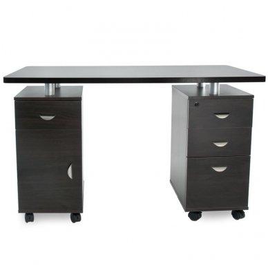Manikiūro stalas su 3 stalčiais ir speintele BIURKO 2022 VENGE, juodos spalvos