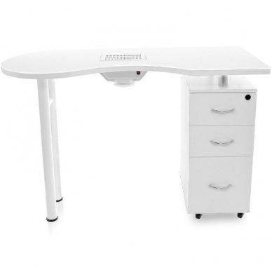 Manikiūro stalas su dulkių sutraukėju, baltos spalvos