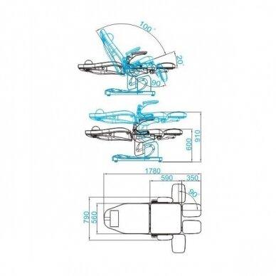 Elektrinis pedikiūro krėslas AZZURRO 709A 3 varikliai, pilkos sp. 5
