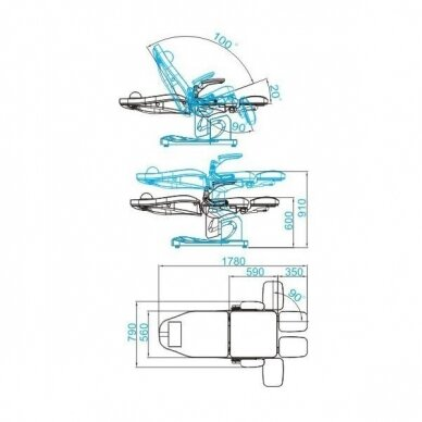 Elektrinis pedikiūro krėslas AZZURRO 709A 3 varikliai, baltos sp. 2