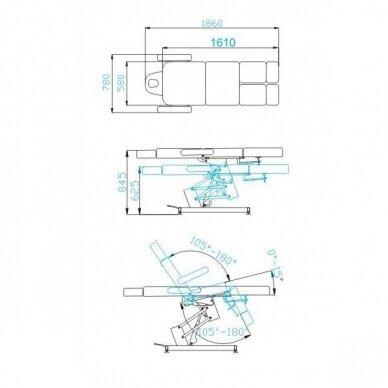 Kosmetologinis elektrinis krėslas AZURRO 706 PEDI, baltos sp. 12