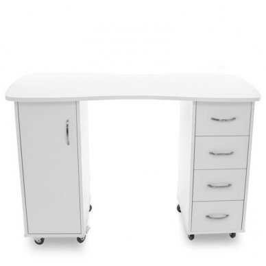 Manikiūo stalas BIURKO 2027 BP, su 4 stalčiais ir spintele, baltas