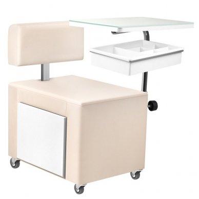 Pedikiūro kėdutė ir staliukas 2 in 1 su stalčiumi