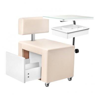 Pedikiūro kėdutė ir staliukas 2 in 1 su stalčiumi 2