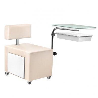 Pedikiūro kėdutė ir staliukas 2 in 1 su stalčiumi 4