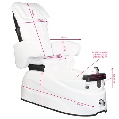 Pedikiūro krėslas PEDICURE SPA AS-122, su masažo funkcija, baltos sp. 7