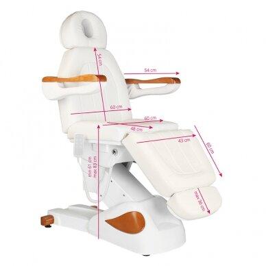 Elektrinis kosmetologijos krėslas 2323 IVORY/WOOD, 4 varikliai 2
