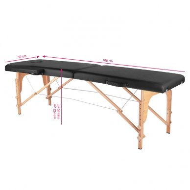 Sulankstomas masažo stalas WOOD COMFORT 2 BLACK, juodos sp. 2