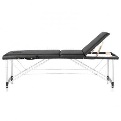 Sulankstomas 3 dalių masažo stalas su aliuminio kojelėm KOMFORT BLACK