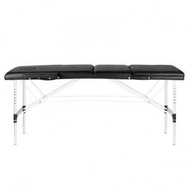 Sulankstomas 3 dalių masažo stalas su aliuminio kojelėm KOMFORT BLACK 3