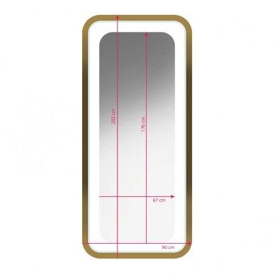 Kirpyklos veidrodis su apšvietimu GABBIANO B094, aukso sp. 4