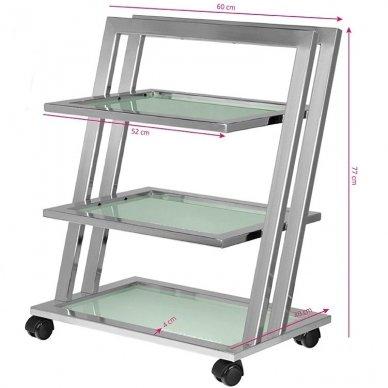 Kosmetologinis vežimėlis GIOVANNI 070 CHROM, 3 lentynos, chromo sp. 2