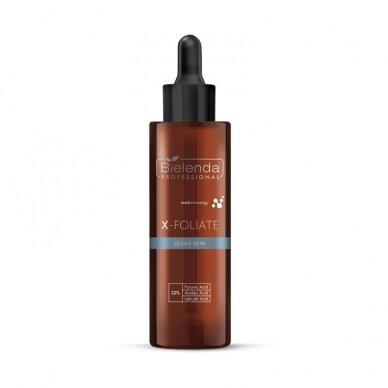 BIELENDA X-FOLIATE Clear Skin - formulė spuoguotai odai, 22% piruvinė rūgštis, 30ml