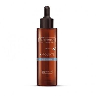Bielenda X-Foliate Anti Wrinkle formulė brandžiai odai, 30% glikolio rūgštis, pH 1.4, 30ml