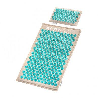 Akupresūros kilimėlis su pagalve, kreminė/turkio sp. 2