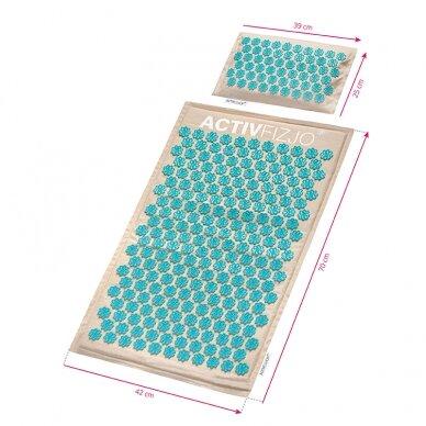 Akupresūros kilimėlis su pagalve, kreminė/turkio sp. 8