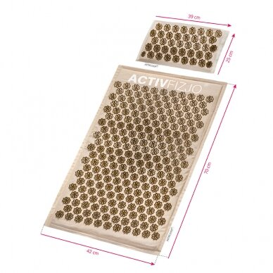 Akupresūros kilimėlis su pagalve, kreminė/aukso sp. 8