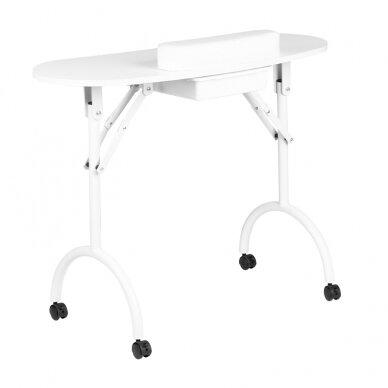 Sulankstomas manikiūro stalas su stalčiumi, baltos sp.
