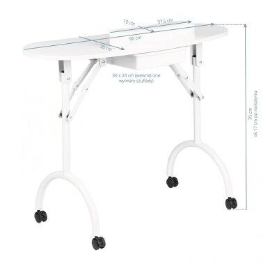 Sulankstomas manikiūro stalas su stalčiumi, baltos sp.  6