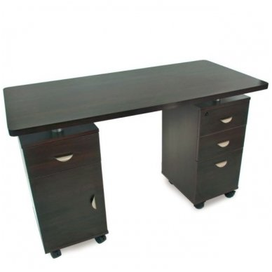 Manikiūro stalas su 3 stalčiais ir speintele BIURKO 2022 VENGE, juodos spalvos 2