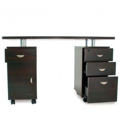 Manikiūro stalas su 3 stalčiais ir speintele BIURKO 2022 VENGE, juodos spalvos 4