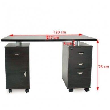 Manikiūro stalas su 3 stalčiais ir speintele BIURKO 2022 VENGE, juodos spalvos 5