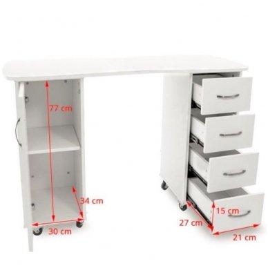 Manikiūo stalas BIURKO 2027 BP, su 4 stalčiais ir spintele, baltas 6