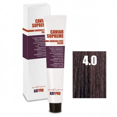"""4.0 """"KAYPRO Caviar Supreme"""" kreminiai plaukų dažai be amoniako, vidutinė- ruda natūrali sp., 100 ml."""