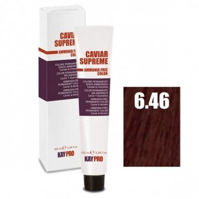 """6.46 """"KAYPRO Caviar Supreme"""" kreminiai dažai be amoniako, tamsi Blond, Vario raudonumo sp., 100 ml"""