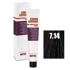 """7.14 """"KAYPRO Caviar Supreme"""" kreminiai dažai be amoniako, tamsaus riešuto sp., 100 ml."""