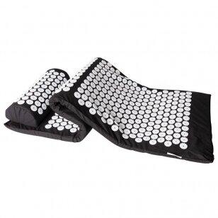 Akupresūros čiužinys su pagalvėle 123cm, juodos sp.