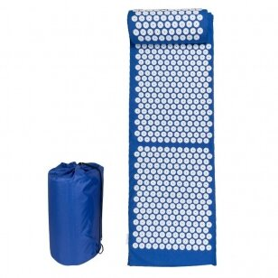 Akupresūros čiužinys su pagalvėle 123cm, mėlynos sp.