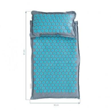 Akupresūros čiužinys PREMIUM, su pagalvėle,61cm, tamsiai mėlynos sp.  4
