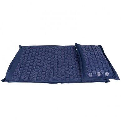 Akupresūros čiužinys PREMIUM, su pagalvėle,61cm, tamsiai mėlynos sp.  2