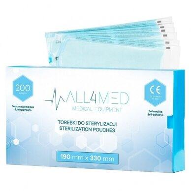ALL4MED sterilizavimo vokai autoklavui 190mm X 330mm, 200 vnt.