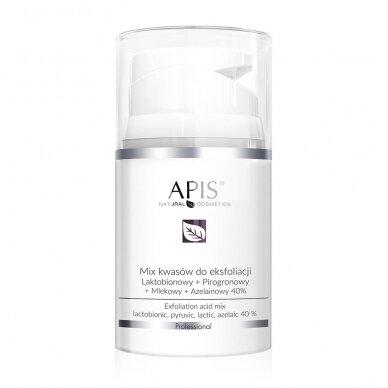 APIS rūgščių MIX: 40 %, pH 1.4: lactobionic+pyruvic+lactic+azelaic, 50ml