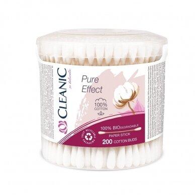 Ausų krapš. Cleanic Pure Effect, pop. koteliu 200 vnt., plastik.apvali dėž.