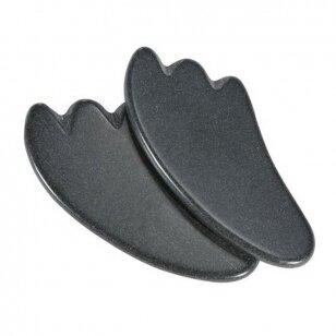 Bazalto akmenys GuaSha nugaros masažui, 2 vnt.