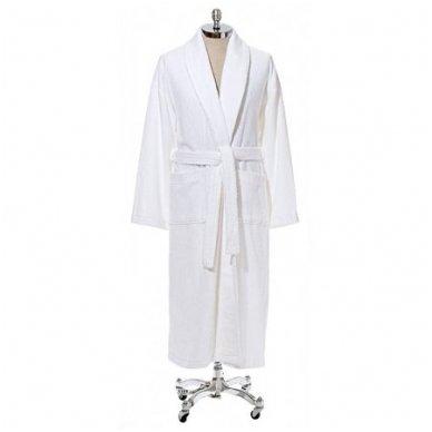 Baltas medvilninis chalatas-kimono su apykakle 430 gr/m2