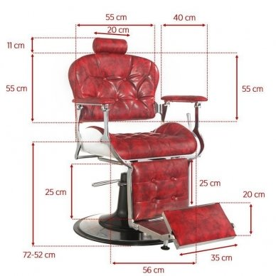Barber krėslas PREMIER, raudonos sp. 2