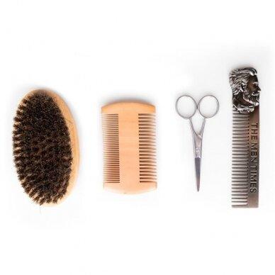 Barber šepetėlių - šukų rinkinys barzdai ir ūsams