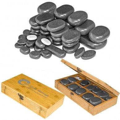Bazalto akmenų rinkinys masažui H18TC, 18 vnt.