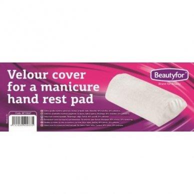 Beautyfor veliūrinis užvalkalėlis manikiūro pagalvėlei, baltos sp.