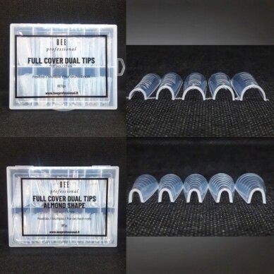 Bee Professional Full Cover Dual Tips Set/ Pilno dengimo viršutinių formelių rinkinys (kvadratui bei migdolui) 2