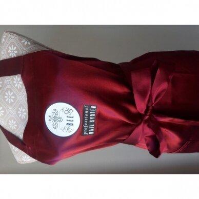 Bee Professionall prijuostė, ilgis 104 cm, 100% viskozė, tamsai raudonos sp. 2