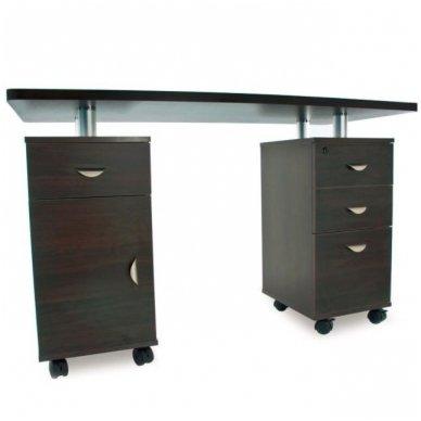 Manikiūro stalas su 3 stalčiais ir speintele BIURKO 2022 VENGE, juodos spalvos 6