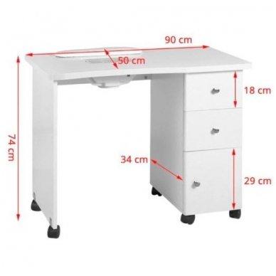 Manikiūro stalas su dulkių sutraukėju 011B, baltos sp. 2